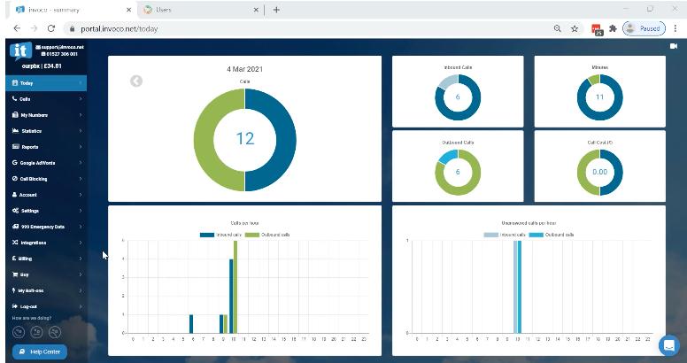 screenshot of invoco dashboard