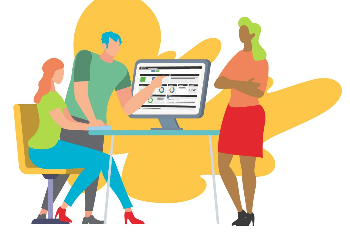 people illustrations working around a computer